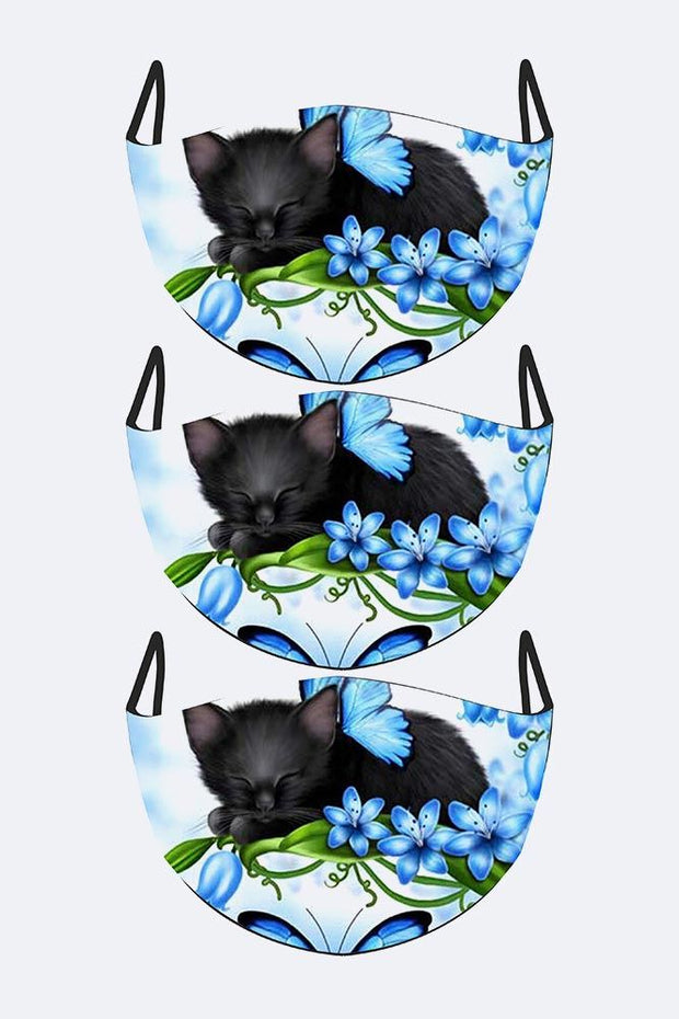 Black Berries Cat Print Fashion Face Mask Cover_grwo