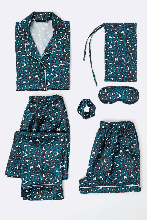 Satin Teal Leopard Border Pj Mixed Set Loungewear Set