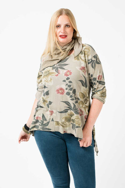 Rosa Button Tab Floweret-patterned Top