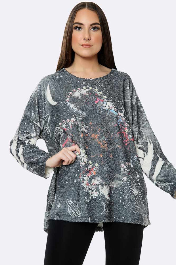 Cosy Space Print Top