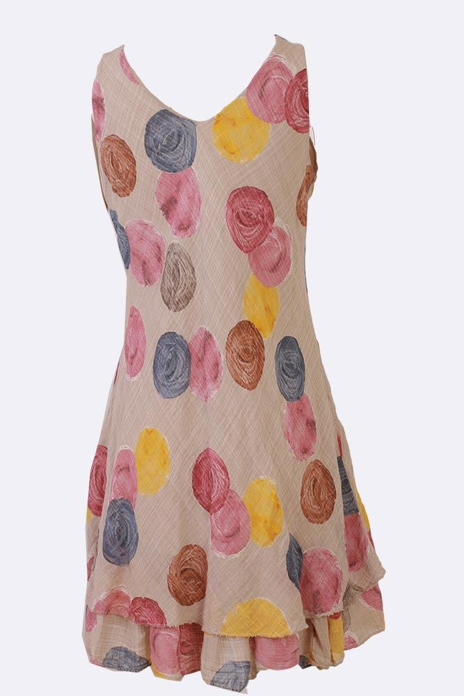 Yadira Cotton Sleeveless Multi Spot Tiered Hem Dress - Love My Fashions - Womens Fashions UK
