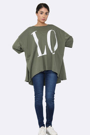Italian Love Motif Oversized Top