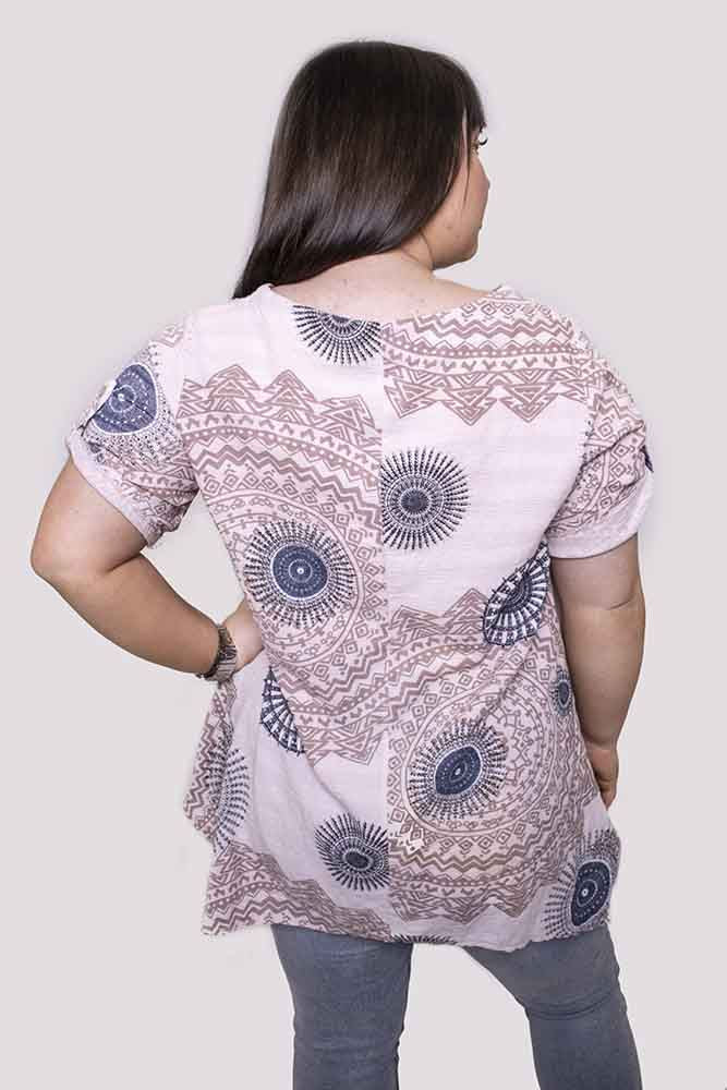 Leticia Cotton Mantra Pattern Short Sleeve Top - Love My Fashions - Womens Fashions UK