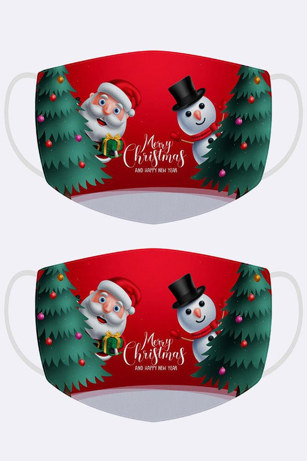 Merry Christmas Santa Snowman Print Xmas Face Mask Cover