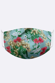 White Gold Floral Print Fashion Face Mask