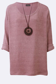 Evie Corduroy Textured Print With Boat Wheel Necklace Swing Top