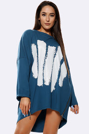 Italian Brush Stroke Zip Hem Top