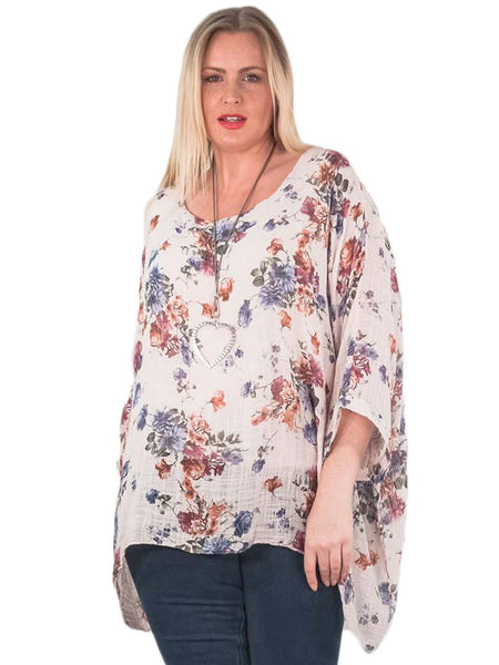 KAYLA Textured Floral Printed Baggy Layered Top