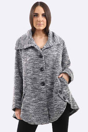 Angelica Textured Fabric Button Fastening Jacket