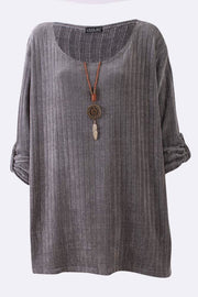 Lacey-mai Knitted Stripes Necklace Top