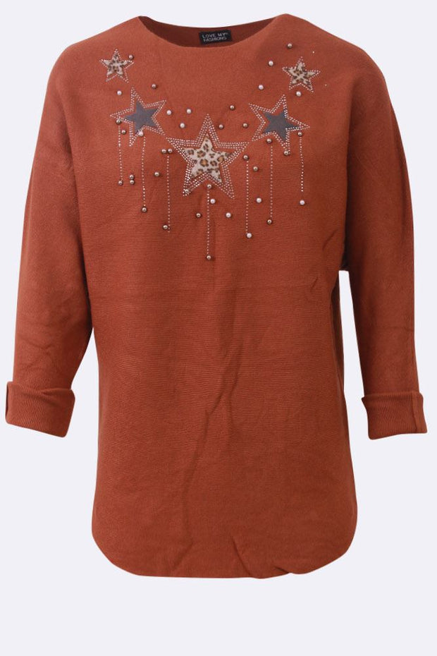 Isabelle Beads Leopard Stars Chest Long Sleeve Tunic Top