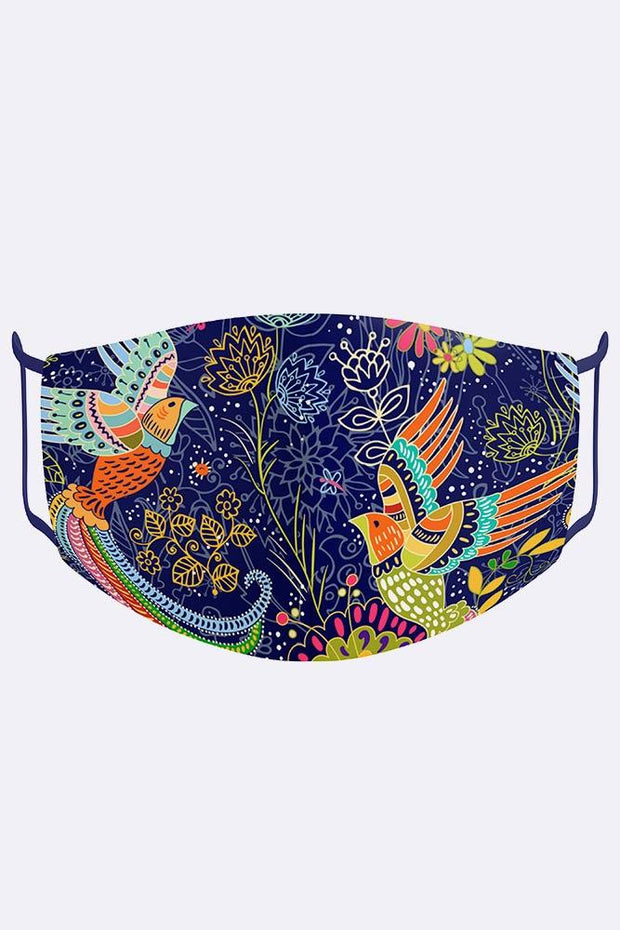 Unisex Colourful Birds Print Digital 2 Ply Cotton Face Mask