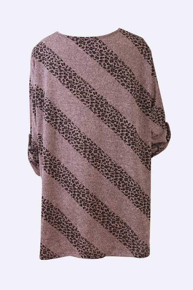 Lizbeth Leopard Stripe Print Tunic Top - Love My Fashions - Womens Fashions UK
