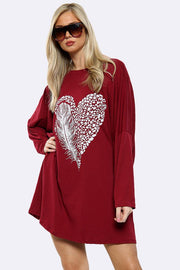 Feather Heart Print Top