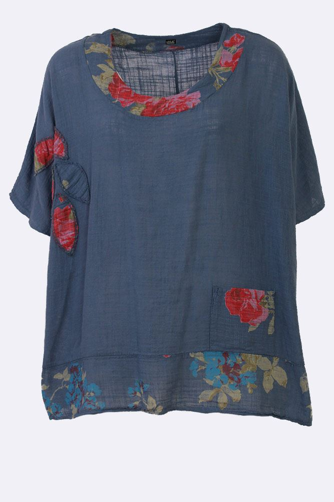 Primrose Linen Flower Pattern Applique Top - Love My Fashions - Womens Fashions UK
