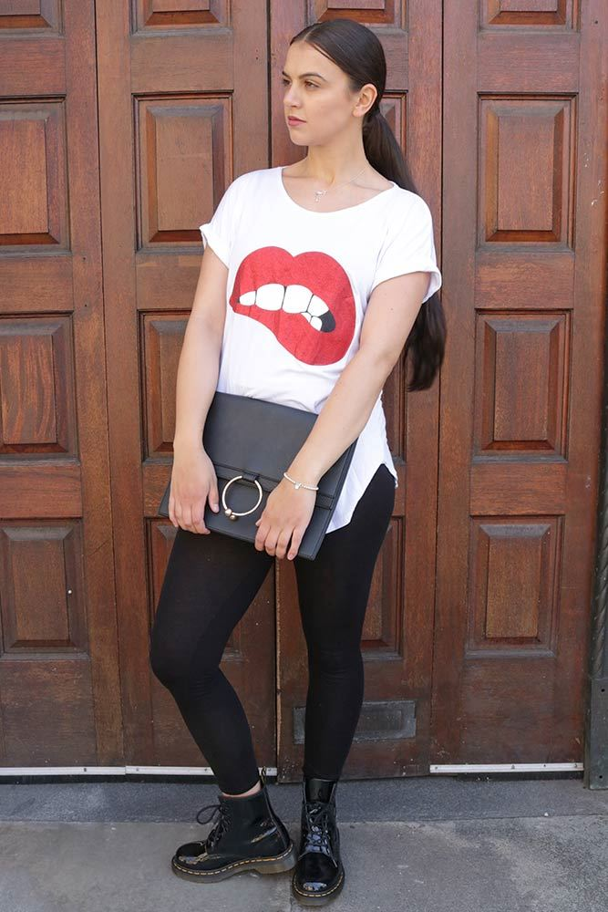 Kaley Plain Lip Bite Slogan Tee T-shirt - Love My Fashions - Womens Fashions UK
