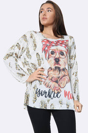 Italian Fashion Terrier Print Tunic Top