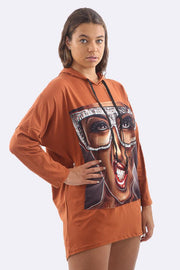 Sonia Cotton Curled Lips Print Oversize Top