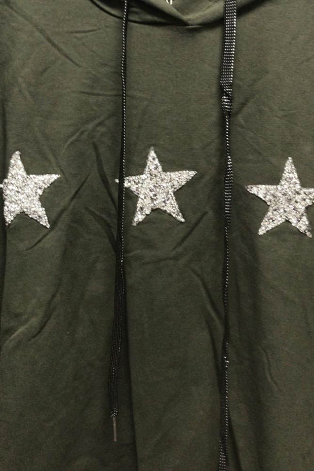 Italian 3 Diamante Star Motif Hoodie Top