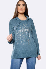 Italian Heart Splash Print Hooded Top