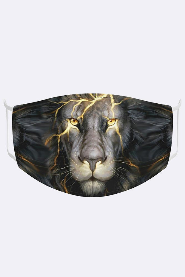 Unisex Lighting Lion Digital Print 2 Ply Cotton Face Mask Cover