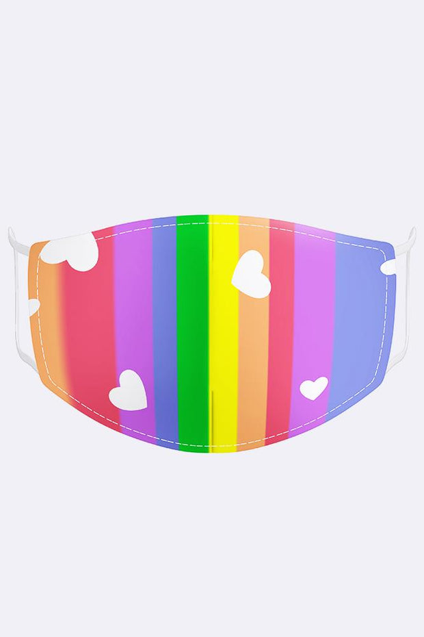Multi Rainbow Heart Print Cotton Face Masks Cover