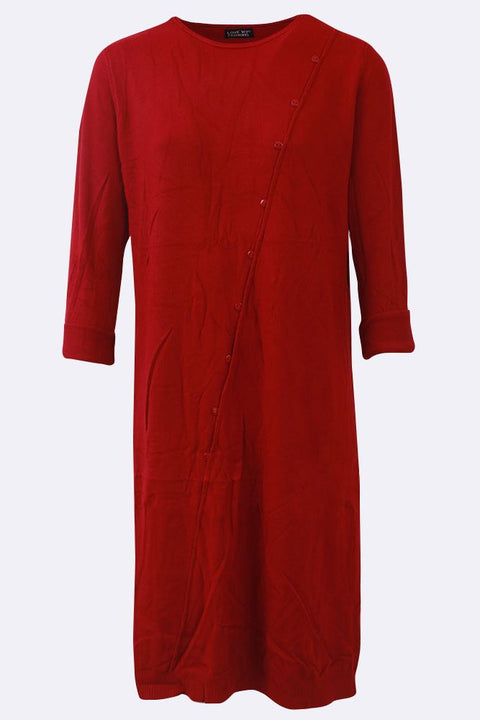 Helen Front Diagonal Button Slide Slit Hem Midi Dress - Love My Fashions - Womens Fashions UK