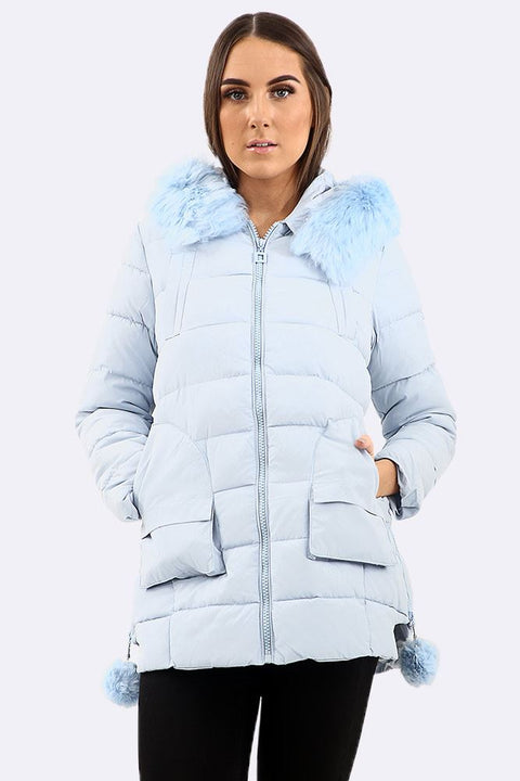 Amara Faux Fur Padded Zipped Sides Hooded Jacket