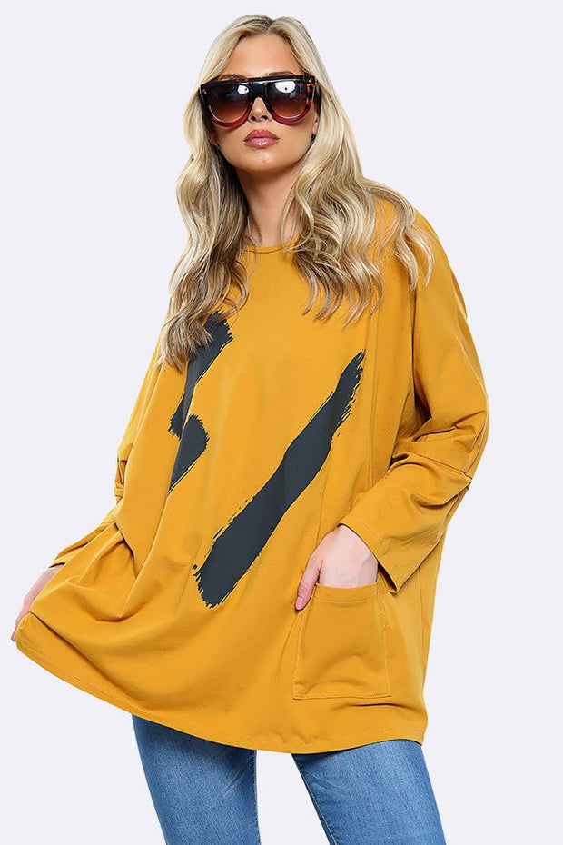 Plus Size Paint Brush Print Top