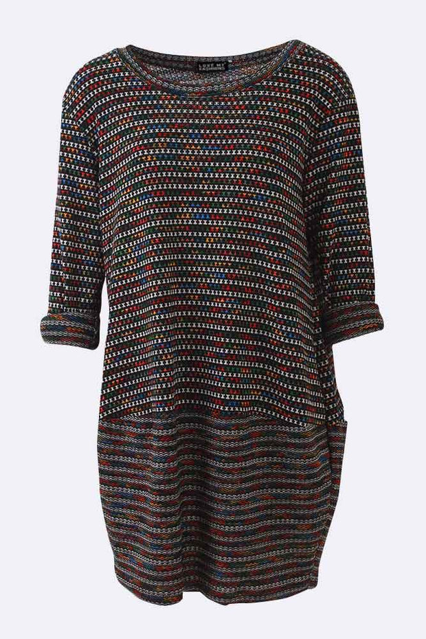 Mara Textured Patchwork Long Sleeve Dress