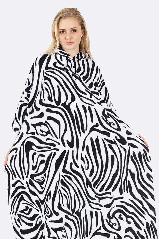 Meaghan Zebra Print Hooded Fleece Poncho Blanket