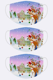Rudolph In City Print Xmas Face Mask Cover