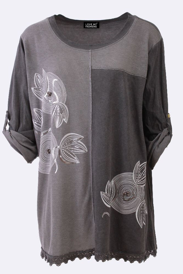 Aniya Cotton Foil Flower Patchwork Tunic Top - Love My Fashions - Womens Fashions UK