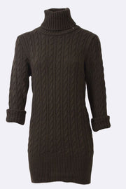 Hazel Chunky Cable Knit High Neck Ribbed Dress