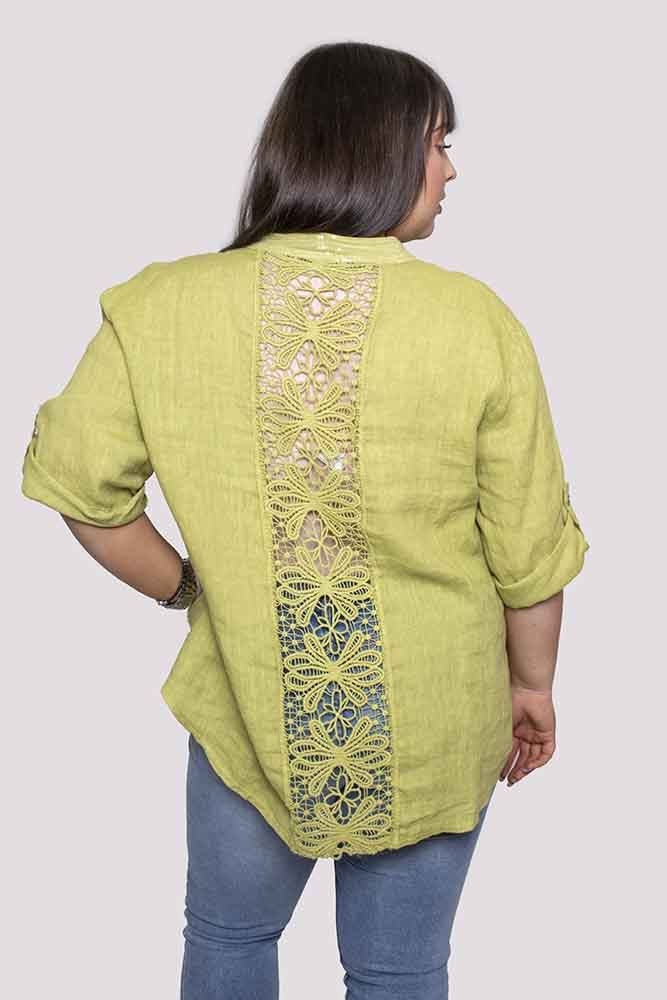 Evelyn Crochet Back Linen Top - Love My Fashions - Womens Fashions UK