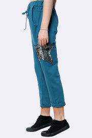 Italian Cotton Sequin Star Drawstring Trouser