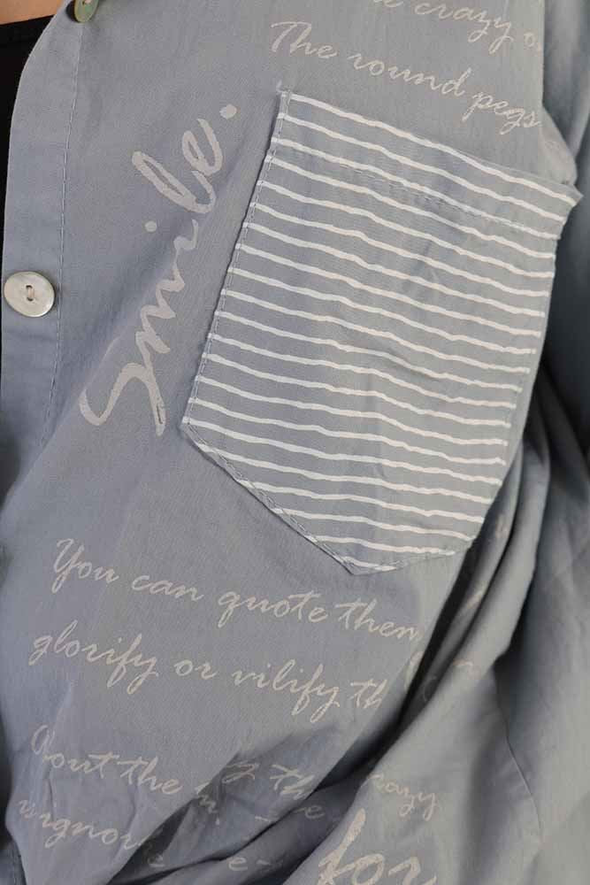 Luz Stripe Text Print Shirt - Love My Fashions - Womens Fashions UK