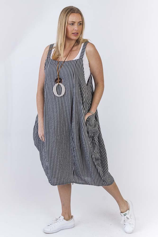 Aila Linen Stripe Bubble Hem Dress - Love My Fashions - Womens Fashions UK