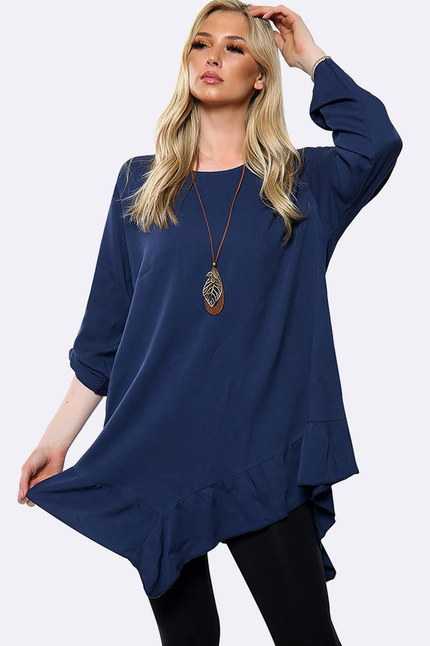 Italian Plain Button Turn Up Sleeves Necklace Asymmetric Top