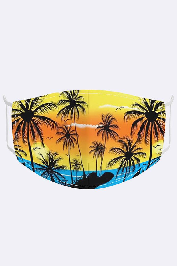 Unisex Tropical Island Digital Print 2 Ply Cotton Face Mask Cover