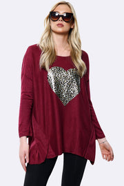 Italian Wool Leopard Heart Print Lagenlook Oversized Top