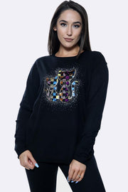 Multi Cats Diamante Pattren Long Sleeve Jumper