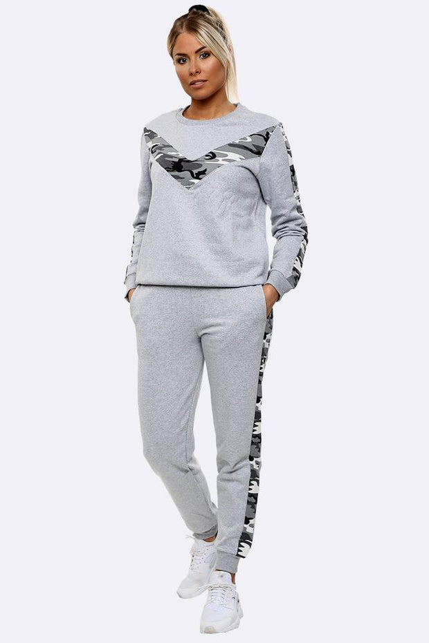 Camouflage Print Side Panel Loungwear Tracksuit