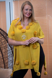 Aimee Plain Big Pom Pom All Over V-neck Poncho