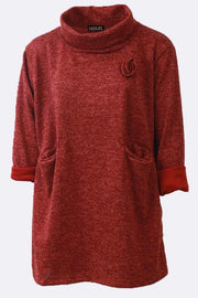 Ariana Plain Flower Detail Cowl Neck Pocket Tunic Top