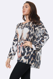 Italian Fashion Strappy Sandal Print Tunic Top