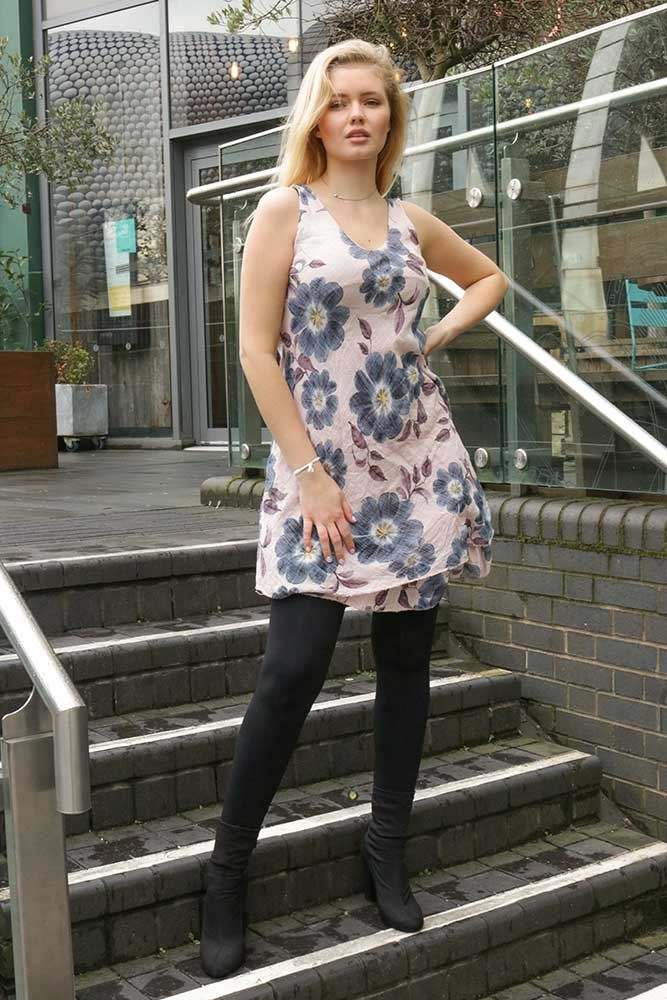 Nellie Cotton Sleeveless Floral Tiered Hem Dress - Love My Fashions - Womens Fashions UK