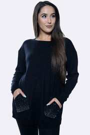 Diamante Pattern Pocket Long Sleeve Tunic Jumper