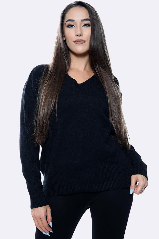 Cable Knitted Pattern Ribbed V-neck Jumper