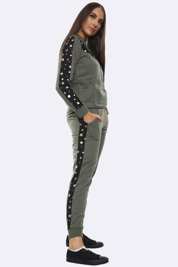 Star Print Side Panel Loungewear Tracksuit